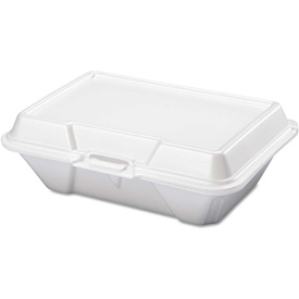 "Hinged Lid Foam Food Containers 9-1/5"" x 6-1/2"" x 3"" 1 Compartment - 200 Pack"