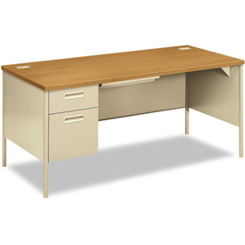 "HON® Steel Desk - Single Left Pedestal - 66"" x 30"" - Oak/Putty"