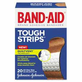 BAND-AID 4408 Flexible Fabric Adhesive Tough Strip Bandages, 1 x 3-1/4, 20/Box