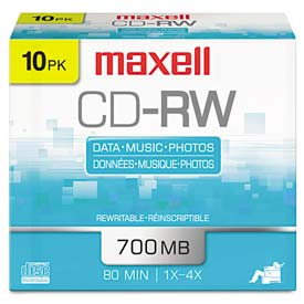 Buy Maxell 630011 CD-RW Discs, 700MB/80min, 4x, Silver, 10/Pack