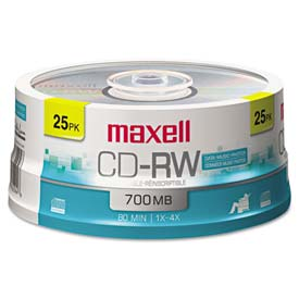 Buy Maxell 630026 CD-RW Discs, 700MB/80min, 4x, Spindle, Silver, 25/Pack