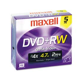 Buy Maxell 634045 DVD+RW Discs, 4.7GB, 4x, w/Jewel Cases, Silver, 5/Pack