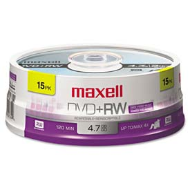 Buy Maxell 634046 DVD+RW Discs, 4.7GB, 4x, Spindle, Silver, 15/Pack