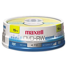 Buy Maxell 635117 DVD-RW Discs, 4.7GB, 2x, Spindle, Gold, 15/Pack