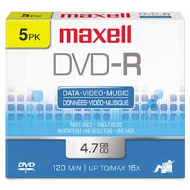 Buy Maxell 638002 DVD-R Discs, 4.7GB, 16x, w/Jewel Cases, Gold, 5/Pack