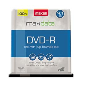 Buy Maxell 638014 DVD-R Discs, 4.7GB, 16x, Spindle, Gold, 100/Pack