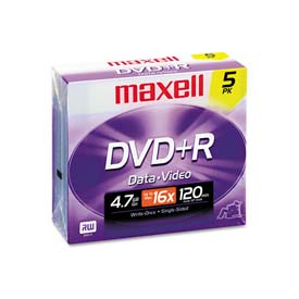 Buy Maxell 639002 DVD+R Discs, 4.7GB, 16x, w/Jewel Cases, Silver, 5/Pack