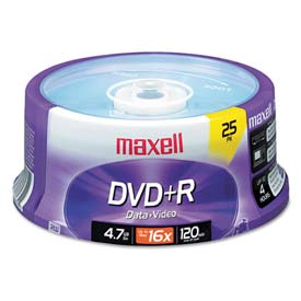 Buy Maxell 639011 DVD+R Discs, 4.7GB, 16x, Spindle, Silver, 25/Pack