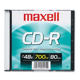 Buy Maxell 648201 CD-R Disc, 700MB/80min, 48x, w/Slim Jewel Case, Silver