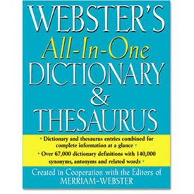 Buy Merriam Webster All-In-One Dictionary/Thesaurus, Hardcover, 768 Pages