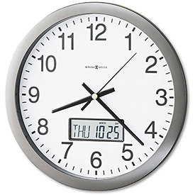 """Howard Miller® Chronicle Wall Clock w/ LCD Inset, 14"""", Gray"""