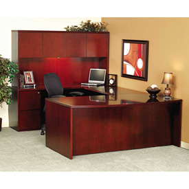 "Mayline CR2072C Luminary Series Wood Veneer Credenza Shell, 72""W x 20""D x 29""H, Cherry by"