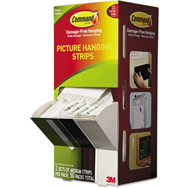 "Buy 3M Command Picture Hanging Strips, 5/8"" x 2 3/4"", White, 50/Carton"