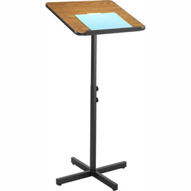Click here to buy Adjustable Speaker Stand, Wood Laminate Top, Medium Oak.