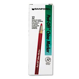 Sharpie 2059 Peel-Off China Markers, Red, Dozen