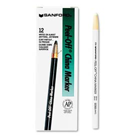 Sharpie 2060 Peel-Off China Markers, White, Dozen