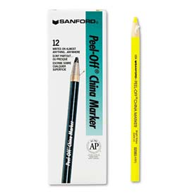 Sharpie 2083 Peel-Off China Markers, Yellow, Dozen