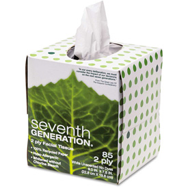 100% Recycled Facial Tissue 2-Ply Pop-up Cube Box 85 Sheets/Box - SEV13719EA