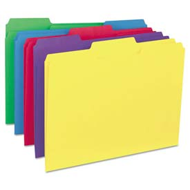Universal® Recycled Interior File Folders, 1/3 Cut Top Tab, Letter, Assorted, 100/Box