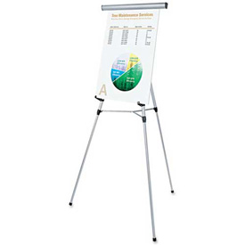 """Universal® 3-Leg Telescoping Easel with Pad Retainer, Adjusts 34"""" to 64"""", Aluminum, Silver"""