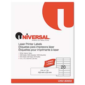 Buy Universal Laser Printer Permanent Labels, 1 x 4, White, 5000 Labels