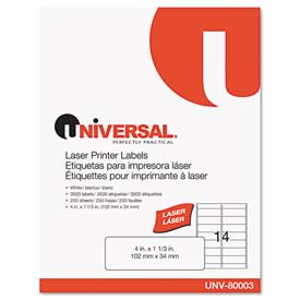 Buy Universal Laser Printer Permanent Labels, 1-1/3 x 4, White, 3500 Labels