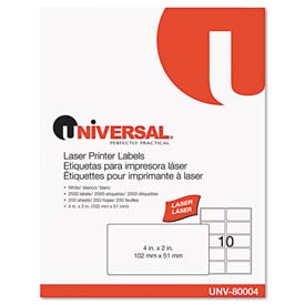 Buy Universal Laser Printer Permanent Labels, 2 x 4, White, 2500 Labels