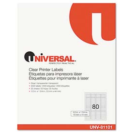 Buy Universal One Laser Printer Permanent Labels, 1/2 x 1-3/4, Clear, 2000 Labels