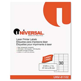 Buy Universal One Laser Printer Permanent Labels, 1 x 2-5/8, Clear, 1500 Labels