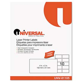 Buy Universal One Laser Printer Permanent Labels, 2 x 4, Clear, 500 Labels