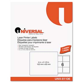 Buy Universal One Laser Printer Permanent Labels, 3-1/3 x 4, Clear, 300 Labels