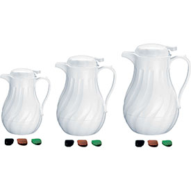 Click here to buy Update International Swirl Carafe, 20 Oz., White, F3022/20 Package Count 24.