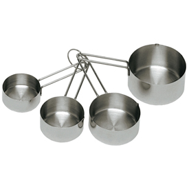 Update International Measuring Cup Set, Stainless Steel, Heavy Duty MEA-CUP Package Count 12 by