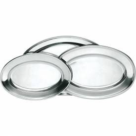 """Update International Oval Platter, 17-3/4""""L x 11-3/4""""W x 1-1/4""""H, Stainless Steel, OP-18 Package Count 30 by"""