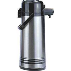 Update International Airpot W/Button Top, 2-1/2 Ltr., Stainless Steel Lined, PSVL-25/BK/SF... by