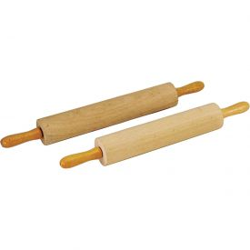 "Update International Rolling Pin Wood W/Handle, 3""Dia. x 18""L, Rubberwood, RPW-3218 Package Count 6 by"