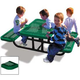 4' Rectangular Child's Picnic Table, Perforated Metal, Green