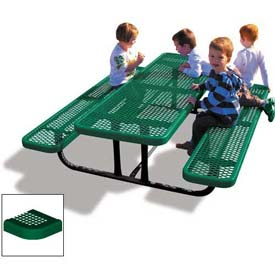 6' Rectangular Child's Picnic Table, Perforated Metal, Green