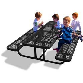 6' Rectangular Child's Picnic Table, Expanded Metal, Black