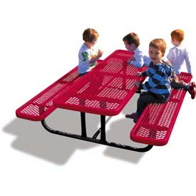 6' Rectangular Child's Picnic Table, Expanded Metal, Red