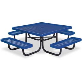 "46"" Square Child's Picnic Table, Portable, Perforated Metal, Blue"