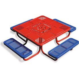 "46"" Child's Picnic Table, Perforated Metal, Red Table Top w/ Blue Seats"