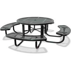 "46"" Round Child's Picnic Table, Portable, Perforated Metal, Black"