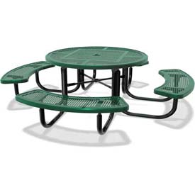 "46"" Round Child's Picnic Table, Portable, Perforated Metal, Green"