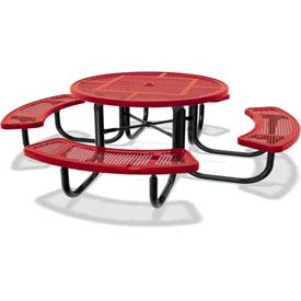 """46"""" Round Child's Picnic Table, Portable, Expanded Metal, Red"""