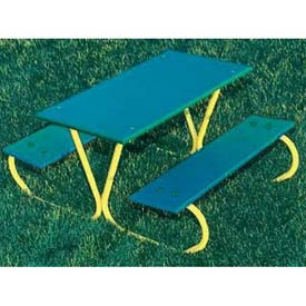 3' Preschool Green Polyethylene Table with Yellow Frame