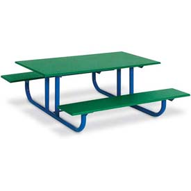 4' Preschool Green Polyethylene Table with Blue Frame