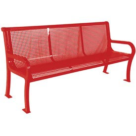 "8' Lexington Bench, Perforated 96""W x 25""D - Red"