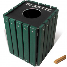 UltraPlay 20 Gallon Cedar Recycle Trash Receptacle w/Lid, Glass - TRSQ-20-CDR-G