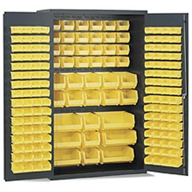 "Vari-Tuff  F87843A3 All-Welded 14-Gauge Jumbo Bin Cabinet 48""W x 24""D x 78""H with 171 Yellow Bins"